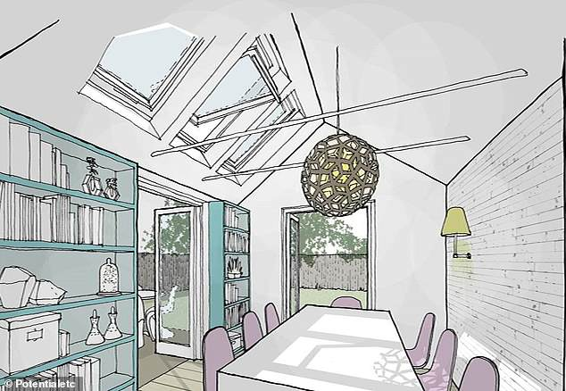 The three-bed house could see the conservatory converted using this design, by  Greg Toon, founder of Potentialetc