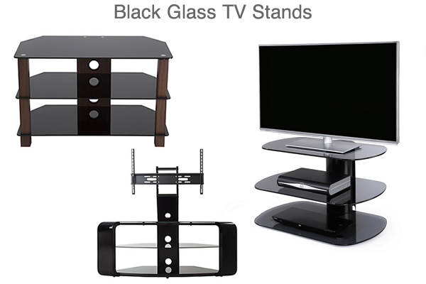 Black Glass TV Stands under £100 Curved Corner Media Units