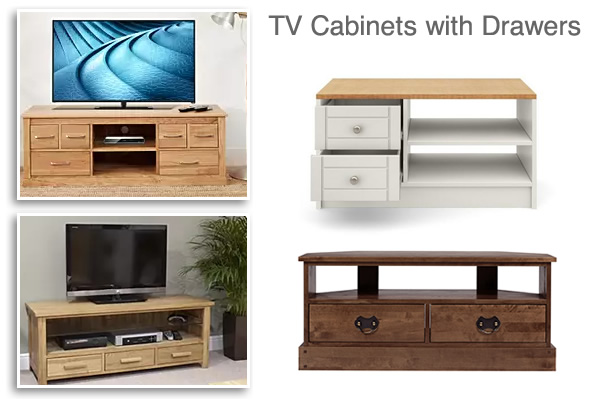 TV Cabinets with drawers and Shelves light dark wood and white TV Stands