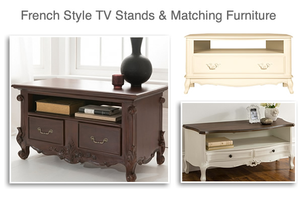 French Style TV Stands Units and Antique Media Cabinets