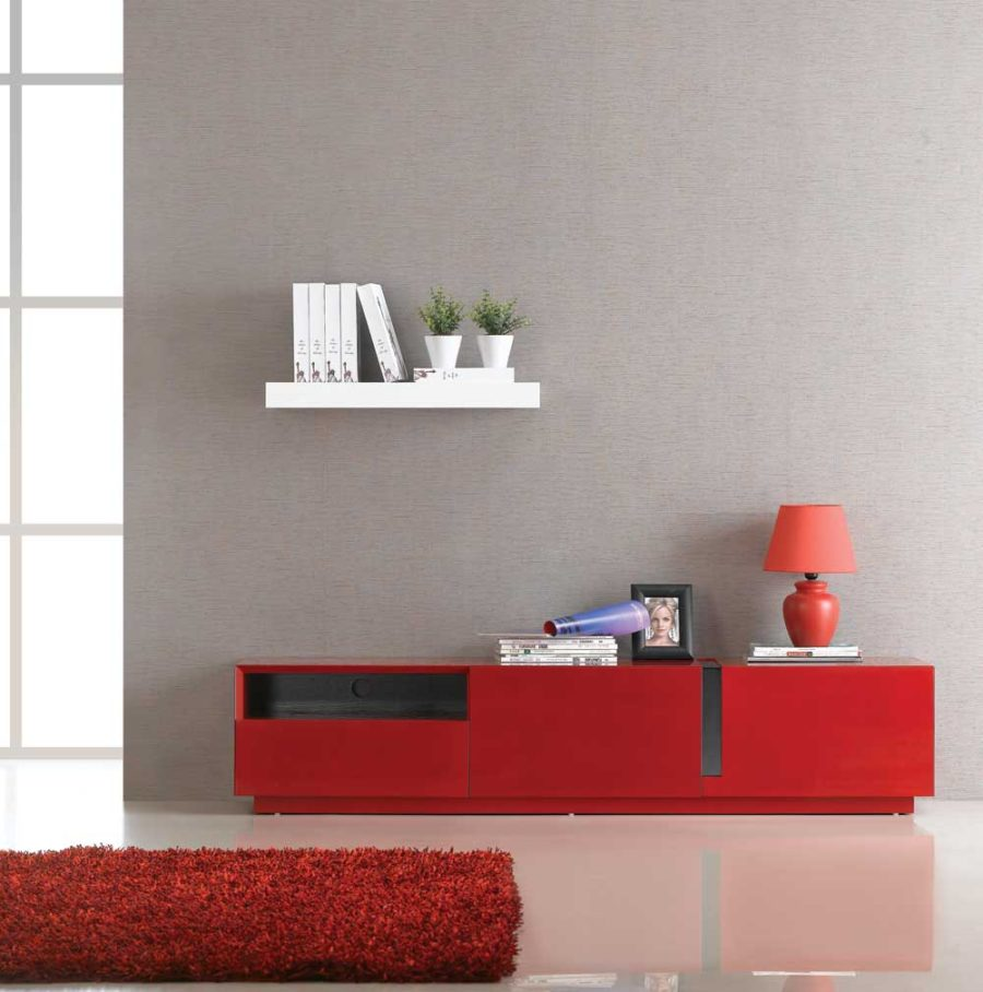 J&M Furniture TV027 Red High Gloss TV Stand